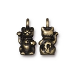 TierraCast Beckoning Kitty Charm, Brass Ox